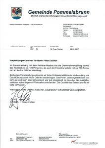 Empfehlung Gemeinde Pommelsbrunn